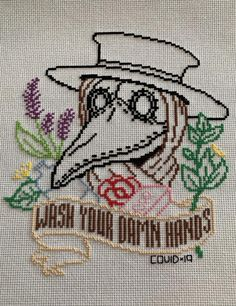 Plague Doctor - And to think, I thought I might not finish this in time for it to be relevant any more. Embroidery Art, Cross Stitch Embroidery, Embroidery Patterns, Funny Embroidery, Foto Top, Sewing Projects, Sewing Crafts, Diy Projects, Cross Stitch Designs