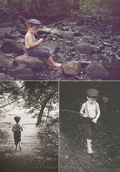 4-year-old boy stylized fishing photo shoot, Lisa Louise Photography