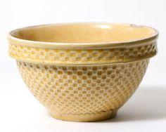 Vintage Yellow Basket Weave Yellow Ware Utilitarian Bowl