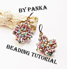*P Beading earring tutorial. Beading pattern. How by Soutachebypanka
