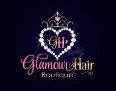 Hair Boutique Logo Design Diamond Heart Hair Extensions Logo
