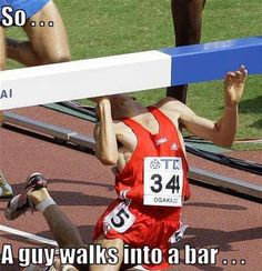 Funny photos, runner hitting hurdle with face, man walks into a bar