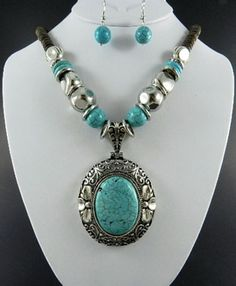 Oval Turquoise Stone Necklace and Earring Set: http://www.outbid.com/auctions/2266-come-if-you-dare-yesterday-s-jewelry-auction#41