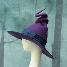 me ~ Witch Hat - Purple Witch Hat - Curly Witch Hat - Wide Brimmed Witch Hat - Witch's Hat - Pointed Witch Hat - Felt Witch Hat Felt Witch Hat, Felt Hat, Witch Hats, Witch Costumes, Halloween Costumes, Halloween Halloween, Vintage Halloween, Halloween Makeup, Wicca