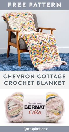 Free Chevron Cottage Crochet Blanket pattern using Bernat Casa Yarn. You'll love the wonderful shadings you get on this cozy crochet blanket that we've designed in Bernat Casa. The multi-textured yarn is perfect on this pattern that has you working single crochet in back loops only, to achieve a classic chevron look. #Yarnspirations #FreeCrochetPattern #CrochetAfghan #CrochetThrow #CrochetBlanket #Chevron #BernatYarn #BernatCasa Knit Or Crochet, Single Crochet, Free Crochet, Afghan Patterns, Crochet Blanket Patterns, Crochet Patterns For Beginners, Crochet Ideas, Bernat Yarn, Textured Yarn