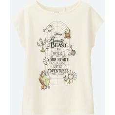 UNIQLO Women's Disney 'beauty And The Beast' Short Sleeve Graphic... ($15) ❤ liked on Polyvore featuring tops, t-shirts, off white, off white tee, graphic design tees, graphic print tees, off white t shirt and short sleeve t shirts
