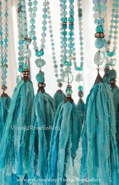 Sari Silk Tassel Necklace, # etsy Aqua Silk Tassel Necklace, Turquoise Agate Boho Chic Necklace by VintageRoseGallery Etsy Jewelry, Boho Jewelry, Jewlery, Boho Chic, Mermaid Necklace, Unique Necklaces, Layering Necklaces, Sari Silk, Crystal Beads