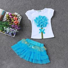 LZH Children Clothes 2017 Summer Kids Girls Clothes Set Flower T-Shirt+Skirt Outfit Girl Sport Suit Children Girls Clothing - Kid Shop Global - Kids & Baby Shop Online - baby & kids clothing, toys for baby & kid Cheap Girls Clothes, Kids Outfits Girls, Kids Girls, Girl Outfits, Girls Dresses, Baby Girls, Tutu Dresses, Casual Clothes, Toddler Girls
