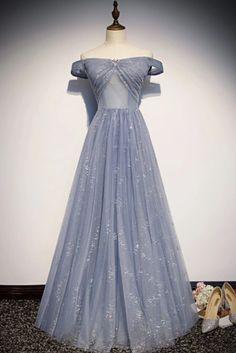 Strapless Blue Tulle Beaded Long A Line Off Shoulder Prom Dress, Eveni – formalgowns Ball Dresses, Prom Dresses, Formal Dresses, Dress Prom, Ball Gowns Evening, Evening Dresses, Pretty Dresses, Beautiful Dresses, Fantasy Dress