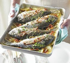 Sea bream is a delicate white fish that is best cooked simply, as in this Mediterranean-style one-pot