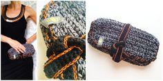 crochet clutch grey/black cotton wool, copper yarn
