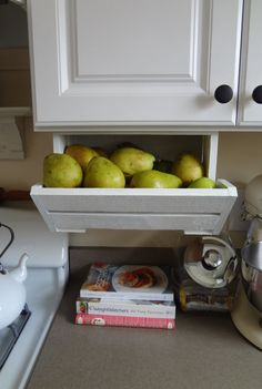 What an easy way to free up counter space! Fruit, bread, snacks..... The ORIGINAL Under caBINet Kitchen Crate by DellaLucilleDesigns