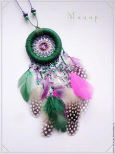 Купить Подвеска с аметистом и перьями цесарки - ловец снов, ловушка сноидений, ловцы сновидений
