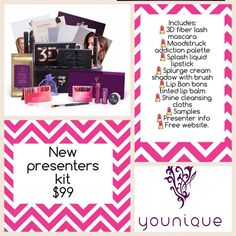 Younique Presenter's kit September 2016  Makeup Younique Products Fastest growing home based business! Join my TEAM! Younique Make-up Presenters Kit! Join today for only $99 and start your own home based business. Do you love make-up? So many ways to sell and earn residual income!! Your own FREE Younique Web-Site and no auto-ship required!!! Fastest growing Make-up company!!!! Start now doing what you love! https://www.youniqueproducts.com/Brookebachtel