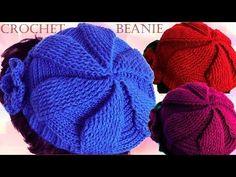 Como tejer a crochet o ganchillo gorro boina en punto de hojas y flores en alto relieve - YouTube