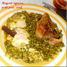 ragout agneau, petits pois, oeufs Aid El Adha, Menu, Pork, Orient, Chicken, Special Recipes, Cooking Lamb, Menu Board Design