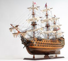 This high quality, highly detailed, expert level, Nelson's HMS Victory Wooden Tall Ship Model is fully assembled and ready for display (not a kit).This HMS Victory Model was specially designed & built Model Sailing Ships, Old Sailing Ships, Sailing Boat, Marina Real, Model Ship Building, Boat Building, Building Plans, Scale Model Ships, Scale Models