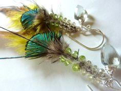 OOAK  Green Amethyst and Peridot Feather Sterling by MelanieMiljan, $70.00