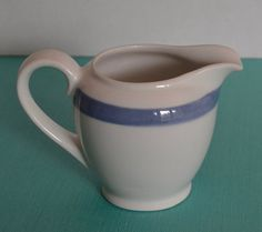 Vintage Arabia Finland White Creamer with Blue by 1GoodThingOrg
