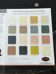 Paint colors from Pasadena Showcase house 2016.
