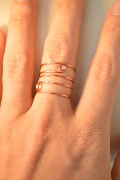 set of 3 Stack rings Copper. fine wire. by EmmielousHandmades