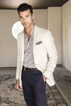 Casual menswear business style / ivory jacket
