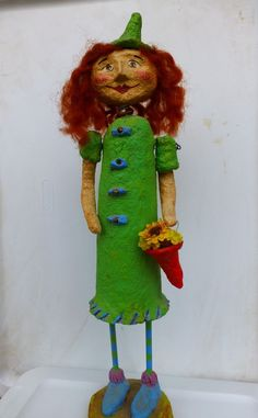 "Original Signed Monnie Wilson Folk Art Primitive Paper Mache 16"" Woman w Flowers #MonnieWilson #FolkArt #SupportLocalArtists"