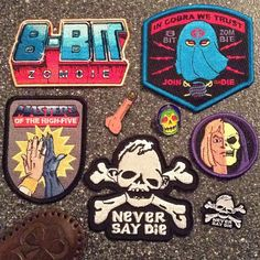 Like its the 1980s. .  All makers tagged in pic. .  @8bz @fltodd @shanebugbee @foolsandtrolls @dotard_ @cityslickpinstriper @  #patchgame #pingame #80s #mastersoftheuniverse #goonies #GIJOE #PATCHES #lapelpins