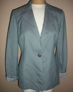 Garfield & Marks Blue Lined Arden Jacket Blazer Made USA Poly Blend Womens Sz 6 #GarfieldMarks #BlazerJacket