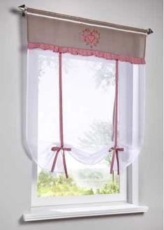 Vitrage à nouer Jolina, bpc living Diy Curtains, Curtains With Blinds, Kitchen Curtains, Kitchen Curtain Designs, Rideaux Design, Home Command Center, Curtain Styles, Window Dressings, Modern Kitchen Design