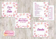 Vorgefertigtes Hochzeitsdesign Rosen regen. Modern, trendy, Aquarell, pink und rosa
