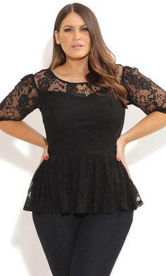City Chic - LACE DANCER PEPLUM TOP - Women's plus size fashion