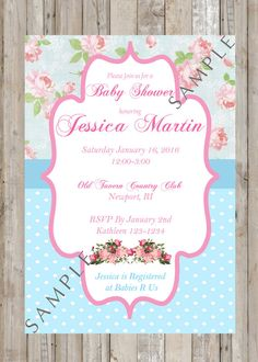 Shabby Chic Baby Shower Printable Invitation by TwoAngelsDesigns