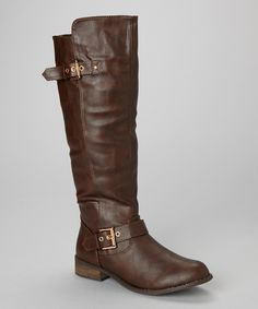 brown rolani double buckle boot