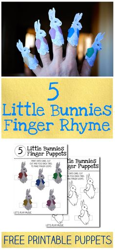 5 Little Bunnies : Finger Rhyme & Free Printable Finger Puppets - Let's Play Music