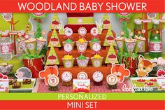 Woodland Baby Shower Package Collection Set Mini Personalized Printable // Woodland - S13Pz1 on Etsy, $29.00