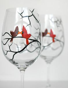 Love Birds Wine Glasses - Set of 2 Personalized Glasses for you and your sweetheart. By MaryElizabethArts $50.00