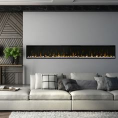 Fireplace too long but cool. Look at that feature wall! Dimplex IgniteXL Linear Electric Fireplace & The post Dimplex IgniteXL Linear Electric Fireplace & appeared first on Dekoration. Fireplace Stores, Home Fireplace, Living Room With Fireplace, Home Living Room, Living Room Designs, Living Room Decor, Shiplap Fireplace, Fireplace Mirror, Small Fireplace