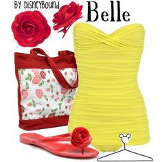 Belle, created by lalakay Disney Bound Outfits, Disney Dresses, Disney Clothes, Disney Inspired Fashion, Disney Fashion, Looks Style, My Style, Belle Beauty And The Beast, Casual Cosplay