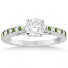 Peridot & Diamond Engagement Ring Palladium 0.26ct-Allurez.com