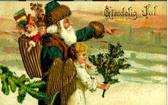 Julekort Nisse og engel Glædelig jul tidlig 1900-tallet