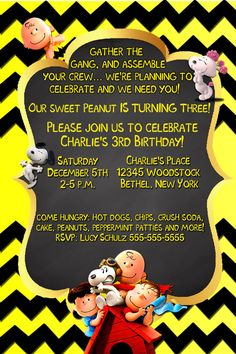 Charlie Brown Invitations-Charlie Brown Birthday Invitation-Peanuts Invitations-Snoopy-Fifi-Lucy-Linus-Peanuts Birthday Invitations-invites