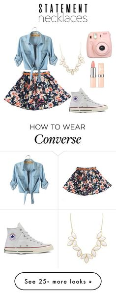 """Untitled #17"" by lazarmaria on Polyvore featuring Converse, Charlotte Russe, Fujifilm and statementnecklaces"
