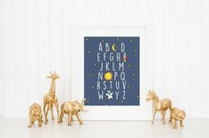 This Alphabet print is the perfect finishing touch for your little ones space-themed nursery! It is part of the Jackson Collection - to shop other
