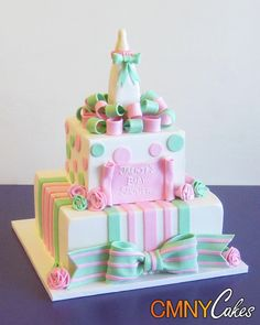 Square Pink and Green Baby Shower Cake with Bottle