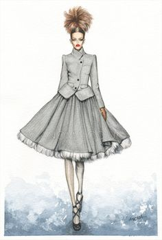 Fashion illustration: Jean Paul Gaultier Fall 2011. Watercolour on paper