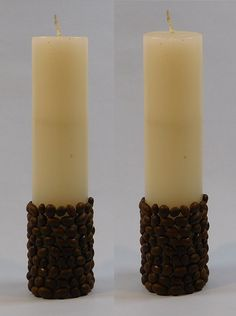 Coffee Beans Designer Pillar Candles-Set of 2 Scented Pillar Candles, Candle Set, Coffee Beans, Design, Design Comics