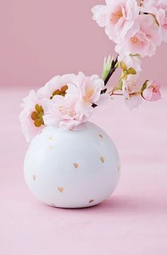 Heart Bud Vase - Valentine gift - white stoneware with petite gold leaf hearts | West Elm