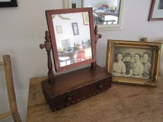 Sweet Shaving Mirror with Drawer. Vintage Shaving / Makeup Mirror. Rustic home decor by ontherebound on Etsy