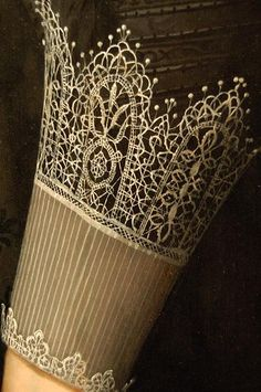 Nicolaes Eliasz Pickenoy, Portrait of a Lady, c. 1630 The Detroit Institute of Arts. (Detail of Lace Cuff) Motifs Textiles, Detailed Paintings, Detail Art, Lace Cuffs, Lace Painting, Antique Lace, Bobbin Lace, Art Techniques, Art Pieces